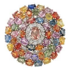 9.19 Carat Natural Sapphire 18 Karat White Gold Diamond Ring