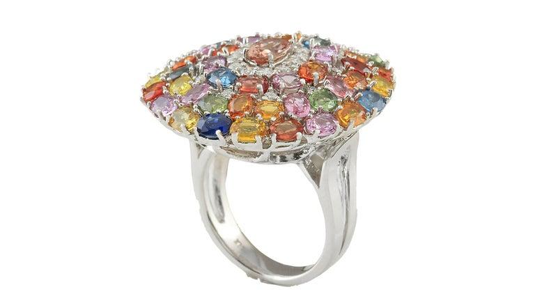 Contemporary 9.19 Carat Sapphire Diamond Cocktail Ring 14 Karat White Gold For Sale