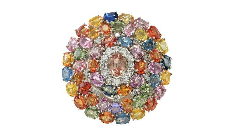 Oval Cut 9.19 Carat Sapphire Diamond Cocktail Ring 14 Karat White Gold For Sale