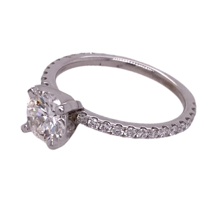 Round Cut .92 Carat Diamond Solitaire Engagement Ring GIA I/VS1 18 Karat White Gold For Sale