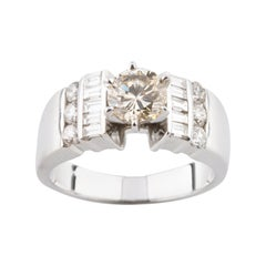 .92 Carat Round Diamond Solitaire Ring with Accent Stones in White Gold