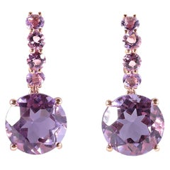 9.20 Carat Amethyst Dangle Earrings in Rose Gold