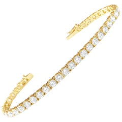 9.20 Carat Diamond Tennis Bracelet Unisex 14 Karat Yellow Gold