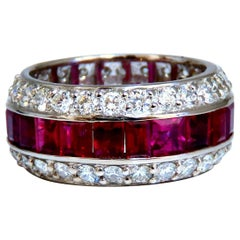 9.20 Carat Natural Ruby Diamonds Eternity Ring 14kt Natural Vivid Reds Revolver