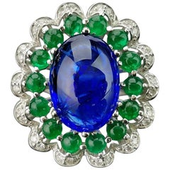9.20 Carat Tanzanite and Emerald Cabochon Cocktail Ring