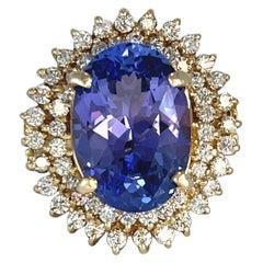 9.20 Carat Tanzanite Gold Ring with Diamonds