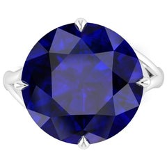 9.20 Carat Tanzanite Round Cut in 18 Karat White Gold Cocktail Ring