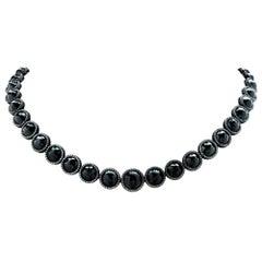 92.08 Carat Black Diamond Riviere Necklace
