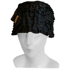 920's Tight Fitting Black Satin Evening Hat By Dolores of London and Paris
