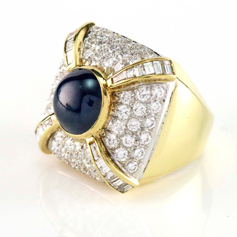 9.21 Carat Blue Sapphire and Diamond Cocktail Ring For Sale 1