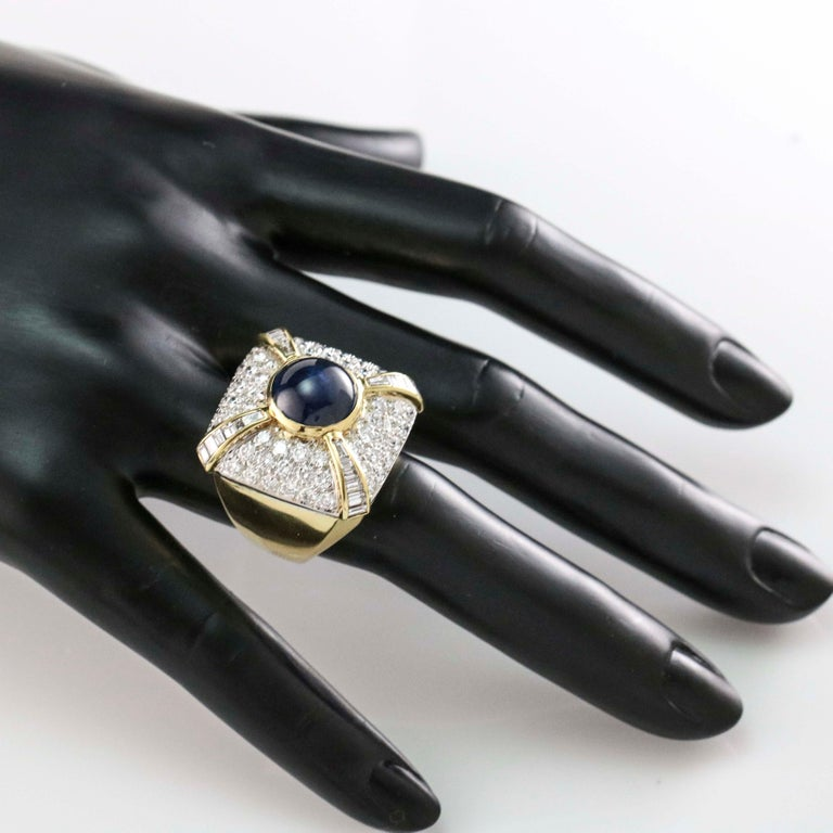 9.21 Carat Blue Sapphire and Diamond Cocktail Ring For Sale 2