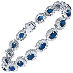 9.21ct Oval Blue Sapphire and 5.56ct Round Diamond Halo 14kt White Gold Bracelet