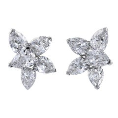 9.22 Carat Diamond Platinum Cluster Earrings