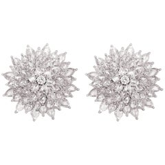 9.23 Carat of Fancy Shape Rose cut and Round Diamonds Earring Stud Clip ons