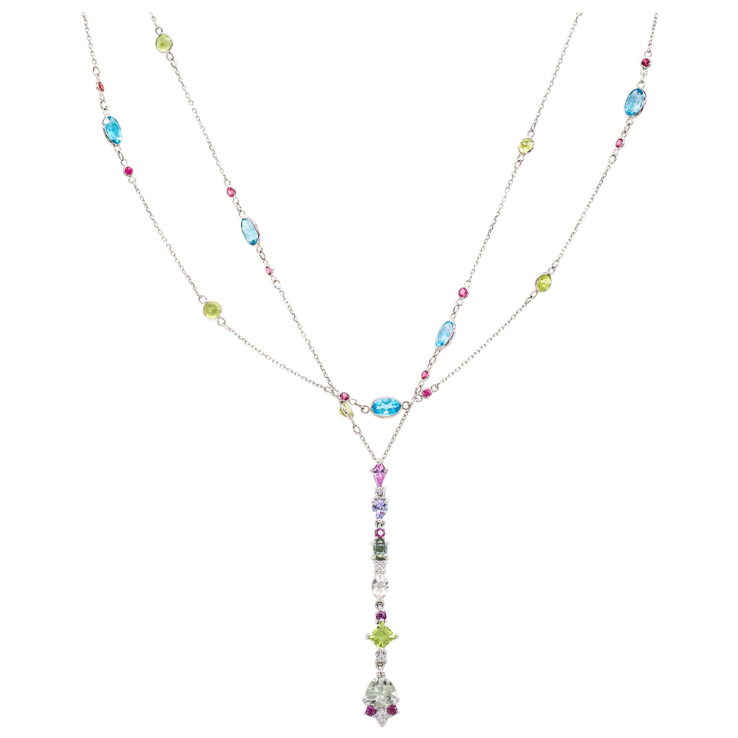 9.23 Carat Sapphire, Tanzanite, Tourmaline, Morganite, Peridot, Diamond Necklace
