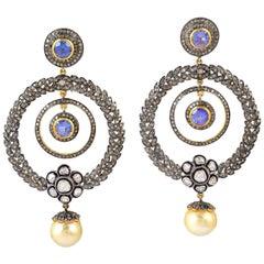 .925 Silver 14k Yellow Gold 7.44ct Tanzanite 6 ct Diamond Pearl Dangle Earrings