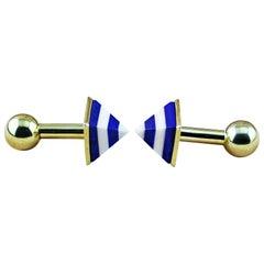 925 Silver 18 Karat Yellow Gold-Plated Agate Lapis Lazuli Pyramid Cufflinks