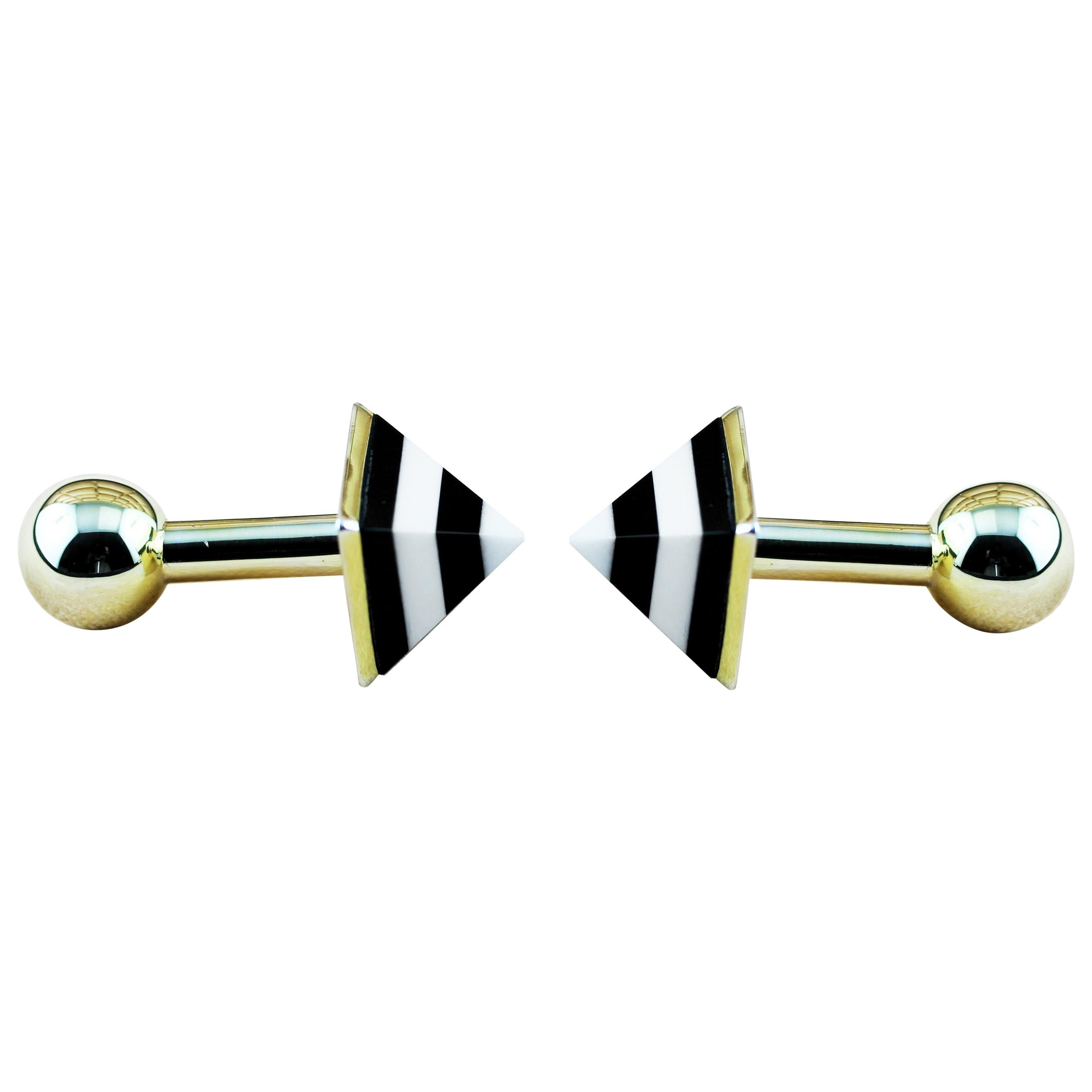 925 Silver 18 Karat Yellow Gold-Plated White Agate and Onyx Pyramid Cufflinks