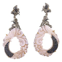 .925 Silver 18k Gold 1.58ct Diamond 1.76ct Sapphire 56.3ct Cameo Dangle Earrings