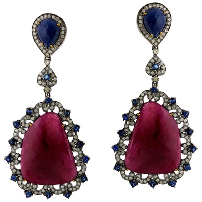 .925 Silver 18k Gold 53.0 Ct Ruby 3.12 Ct Diamond Blue Sapphire Dangle Earrings