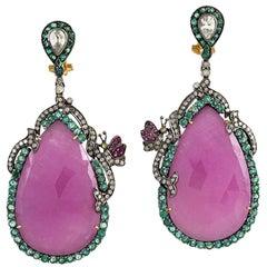 .925 Silver 18k Gold 93.99ct Sapphire 4.7ct Emerald Diamond Ruby Dangle Earrings