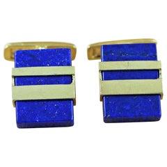 925 Silver Gold-Plated Lapis Lazuli Cufflinks