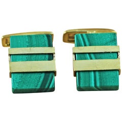 925 Silver Gold-Plated Malachite Cufflinks