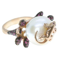 925 Silver Ring with a Cultured Pearl, Cubic Zirconia and a Lizard