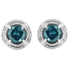 .925 Sterling Silver 1 1/2 Carat Blue Diamond Solitaire Stud Earrings