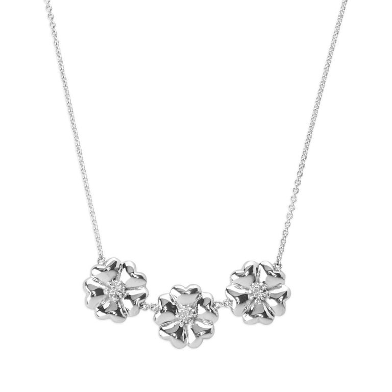""".925 Sterling Silver 16"""" 123 Large Blossom Necklace"""
