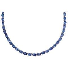 925 Sterling Silver 14 Karat Yellow Gold 60 Carat Blue Tanzanite Necklace