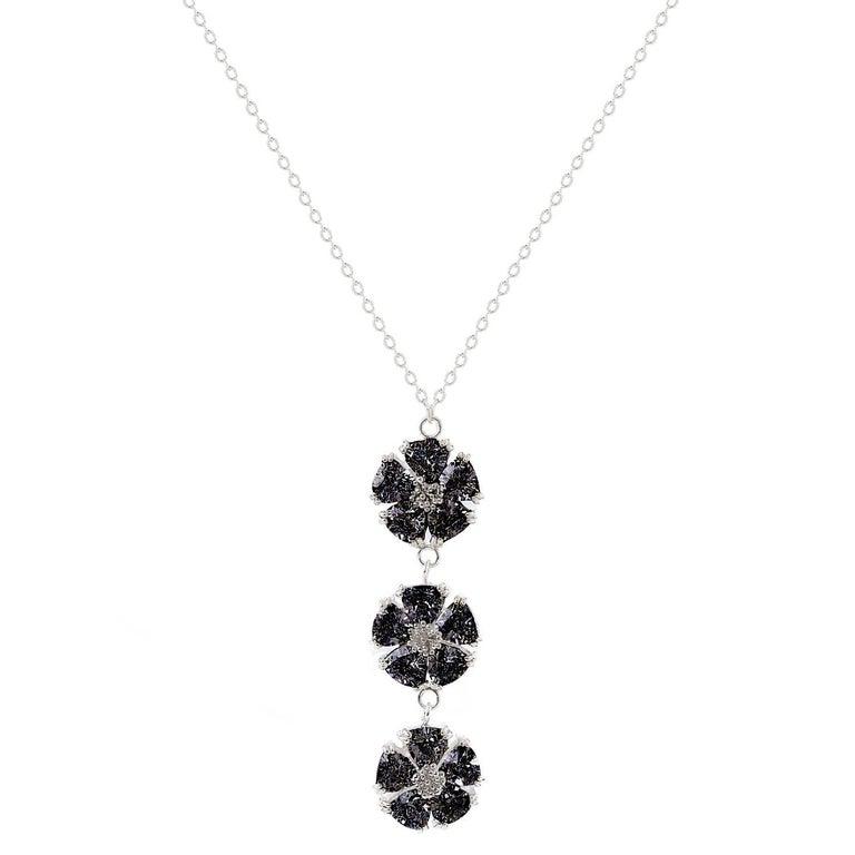".925 Sterling Silver 15 x 7 mm 16"" Black Sapphire Triple Blossom Stone Lariat"