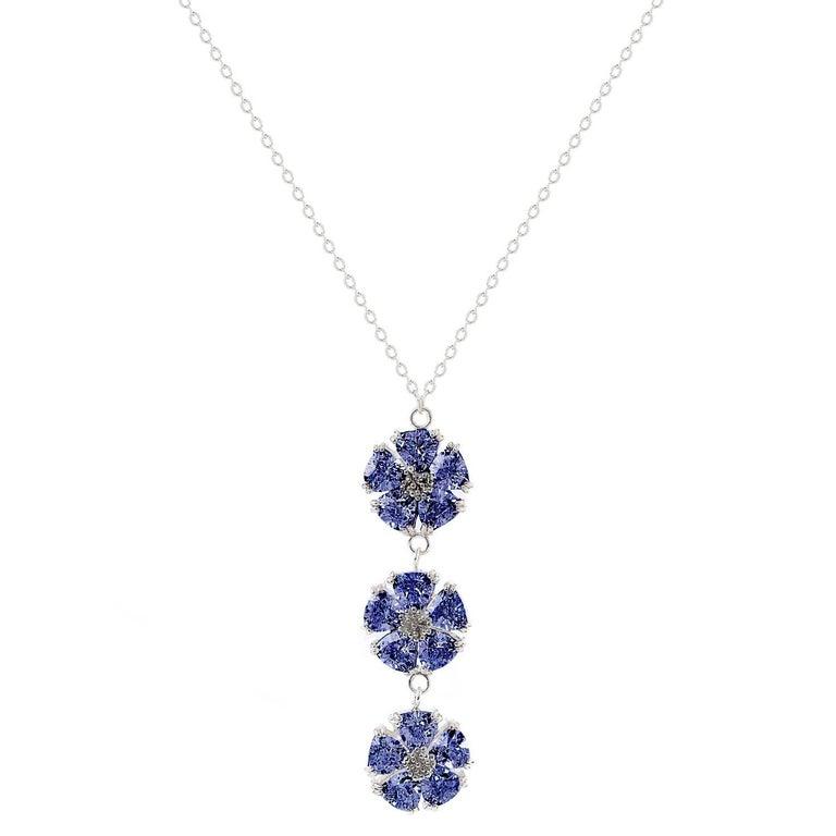 ".925 Sterling Silver 15 x 7 mm 16""Dark Blue Sapphire Triple Blossom Stone Lariat"