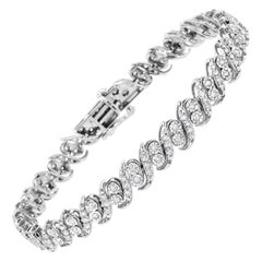 ".925 Sterling Silver 2.0 Carat Round-Cut Diamond ""S"" Link Bracelet"