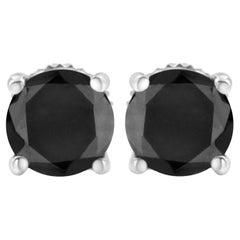 .925 Sterling Silver 2.00 Carat Black Diamond Classic Stud Earrings