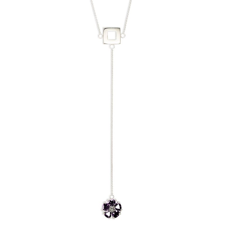 """.925 Sterling Silver 5 x 7 mm Amethyst 16"""" Blossom Stone Square Lariat"""