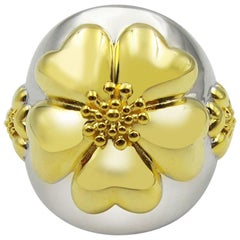 .925 Sterling Silver and 14k Gold Vermeil Blossom Statement Dome Ring Two-Tone