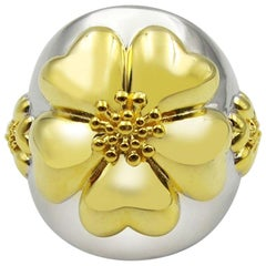 .925 Sterling Silver and 24k Gold Vermeil Blossom Statement Dome Ring Two-Tone