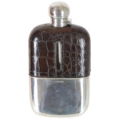 925/- Sterling Silver and Leather Field Bottle Sheffield, 1886