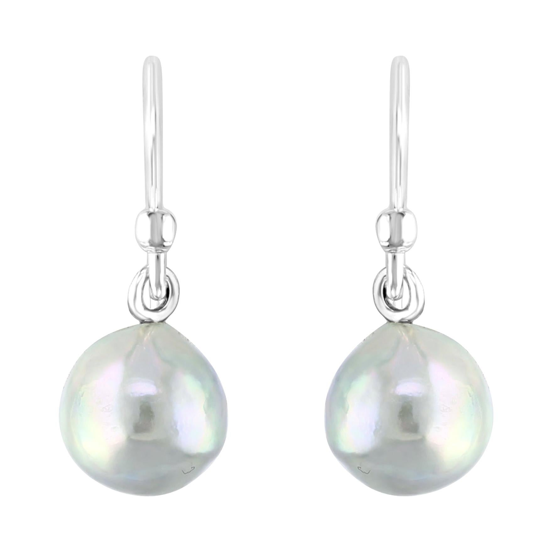 .925 Sterling Silver and Natural-Blue Akoya Pearl Earrings