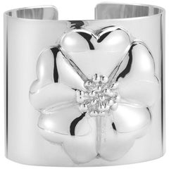 .925 Sterling Silver Blossom Large Cuff Bracelet