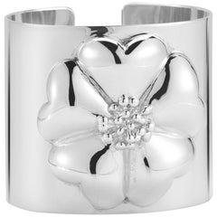 .925 Sterling Silver Blossom Large Cuff Bracelet