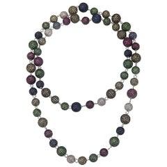 .925 Sterling Silver Diamond Sapphire Tsavorite Ruby Beaded Pave Balls Necklace