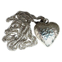 925 Sterling Silver Heart Charm Necklace Sound Motion Hammered Texture