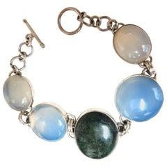 925 Sterling Silver Jasper Chalcedony Moonstone Silver Bracelet