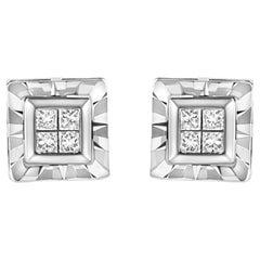 .925 Sterling Silver Princess-Cut Diamond Quad Composite Stud Earrings
