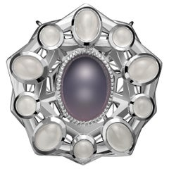 925 Sterling Silver Purple Chalcedony Moonstones Cabochons Transformable Brooch