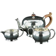 925/- Sterling Silver Tea Set, Teapot, Sugar and Cream Chester 1921 Hallmarked