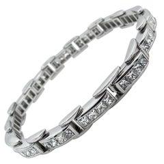 9.25 Carat Princess Diamond Tennis Channel Set Bracelet Platinum