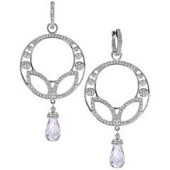 9.26 Carat Briolette Kunzite Diamond 18 Karat White Gold Chandelier Earrings